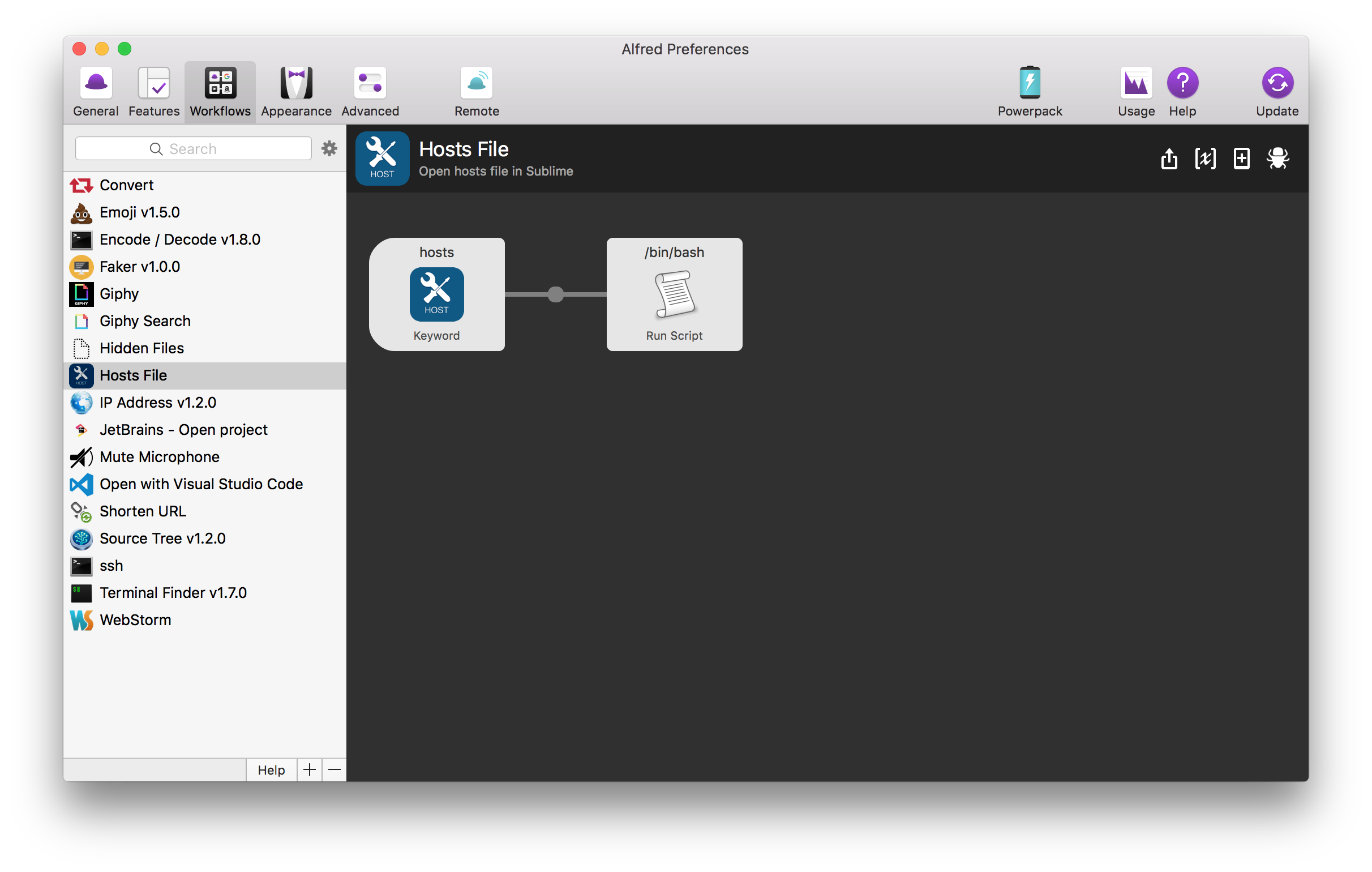 Alfred Hosts File Workflow Configuration