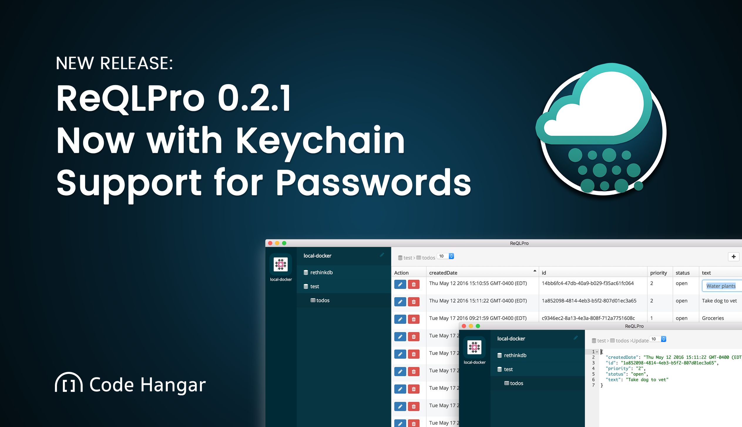 ReQLPro 0.2.1 Release Notes - Now with Keychain Support for Passwords